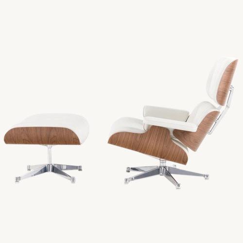 Vitra Lounge Chair mit Ottoman, weiss. Seitenansicht