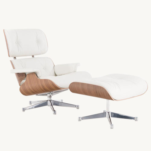 Lounge Chair mit Ottoman weiss I Vitra