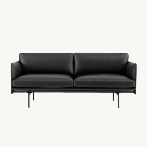 Muuto Outline Sofa 2-Seater Black Silk Leather