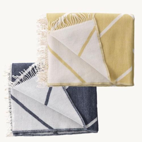 Designer Wolldecken by Lassen Mesch grau, senfgelb